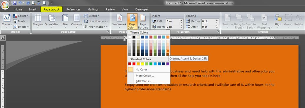 Background Of A Doent In Word 2007