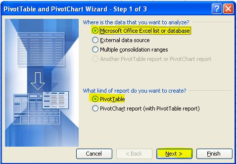 Pivot Tables (Part 1) - How to create a pivot table in Excel 2003