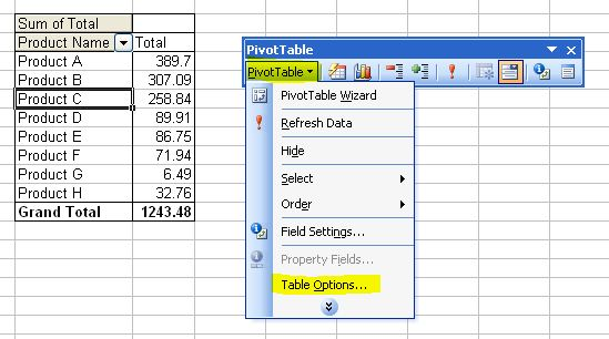 Pivot tables part 3 how to format a pivot table in for Table options