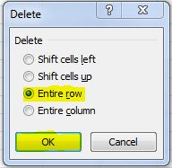 excel how to delete all rows below