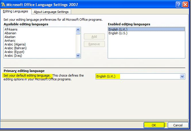 how to set your default language in ms office 2007
