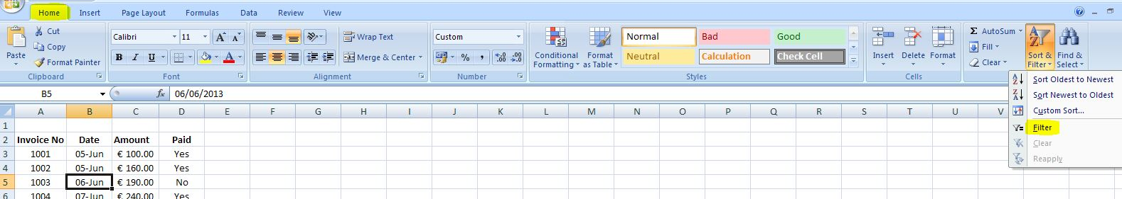 how to use autofilter in excel 2007
