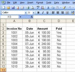 Invoice List example 2003