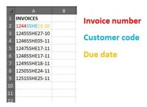 Excel invoice list
