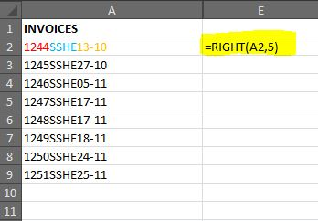 how to use right formula in excel