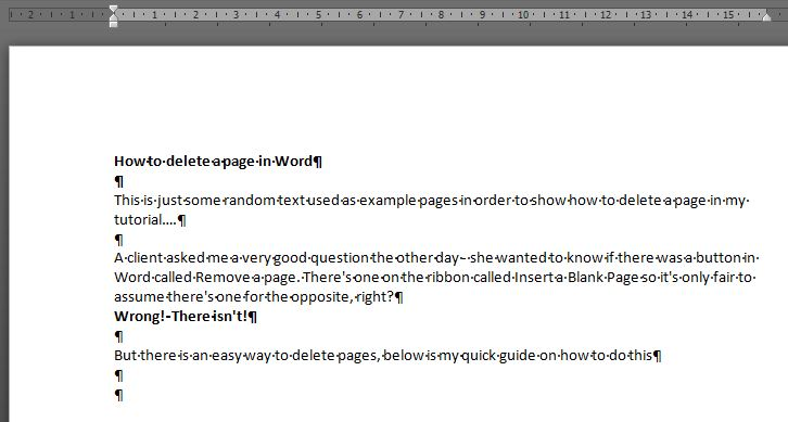 How to delete a page in word outofhoursadmin paragraph symbols ccuart Image collections