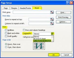 Excel 2003 print comment