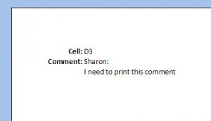 Excel 2007 print preview comment