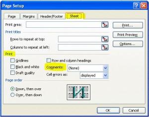 Excel 2003 page setup
