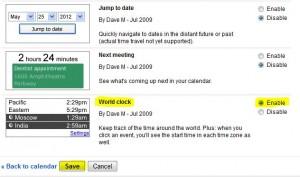 Google calendar world clock