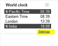 World Clock Settings