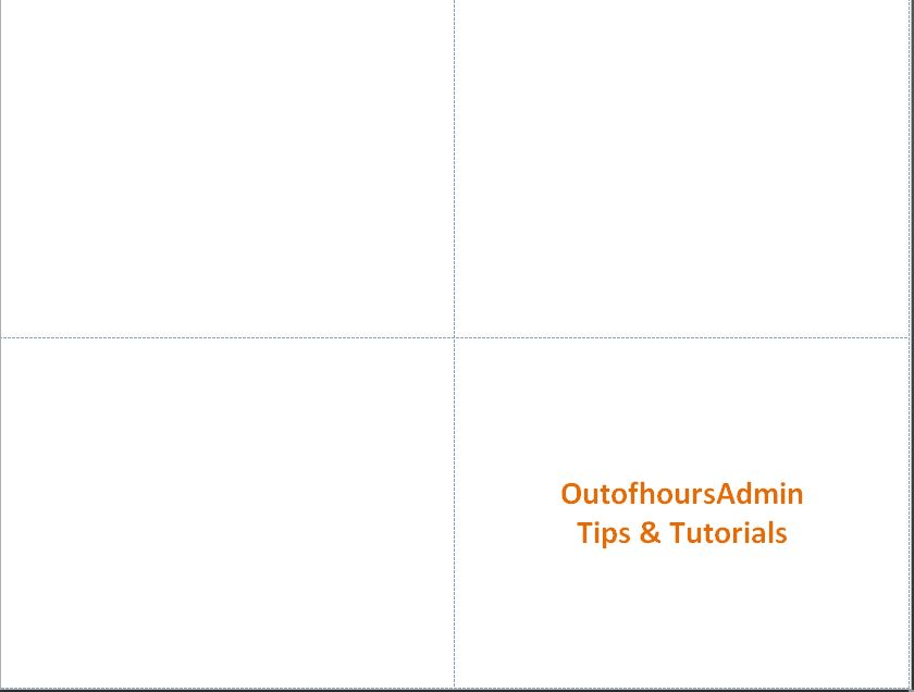 How to divide a page into quarters in Microsoft Word - OutofhoursAdmin