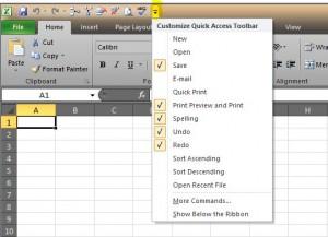 Quick Access Toolbar Menu