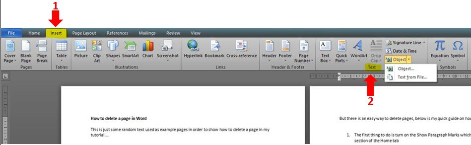 How to insert text from a word document into another outofhoursadmin insert tab in word ccuart Image collections