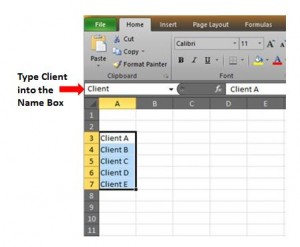 Excel Client Name Box