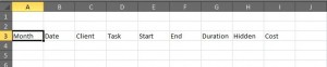 Excel column headings