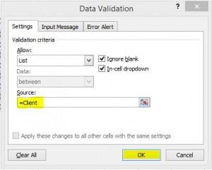 Excel data validation list
