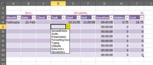 Excel data validation task list