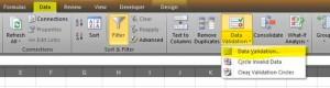 Excel data validation tab