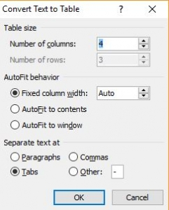 Convert text to table dialogue box