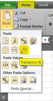 paste transpose