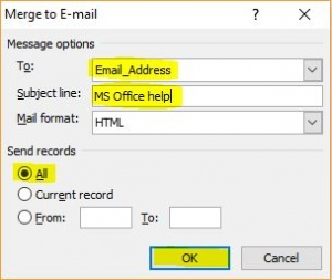 Merge to email