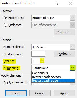how to add a footnote line in word