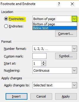 how to add footnotes in word