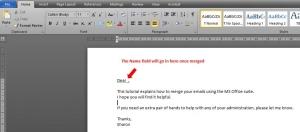 Sample Word document merge