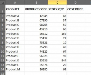 stock sheet example